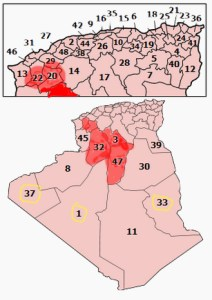 Algerian provinces that had apparent foot-and-mouth vaccine failures in 2014 are shown in red.  Yellow circles indicate provinces that were exempted from revaccination.