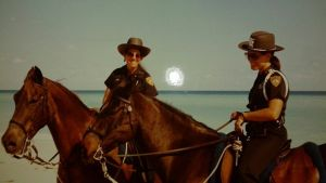 Miami Beach mounted patrol members Cathy Tighe & Beth Clifton, 1983.