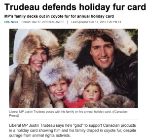 Justin Trudeau posed with his whole family in coyote fur for their 2010 holiday greeting card.