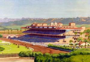 """""""New Del Mar Race Track,"""" watercolor by Mary Helmreich."""