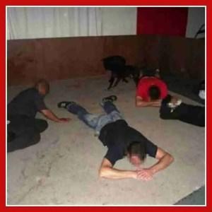 Crime scene photo showing 2011 arrest of Fanie Joubert.