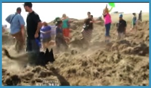 September 3, 2016 confrontation at Standing Rock. (From Facebook video.)
