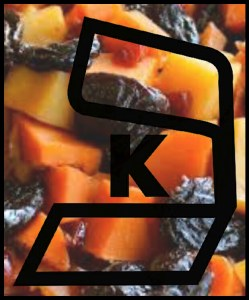 """Tzimmis (""""for our family"""" in Yiddish), a traditional Rosh Hashanah dish made from carrots, sweet potatoes, raisins, honey, and cinnamon. The """"K"""" is a kosher symbol."""