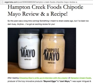Hampton Creek & Chipotle vegan spreads were reviewed together by Vegenista in 2014.