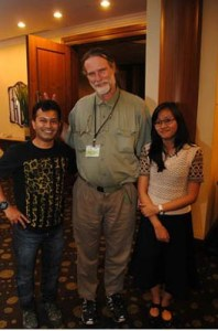 Azam Siddiqui, ANIMALS 24-7 editor Merritt Clifton, and Cordelia Siddiqui at Asia for Animals 2014.