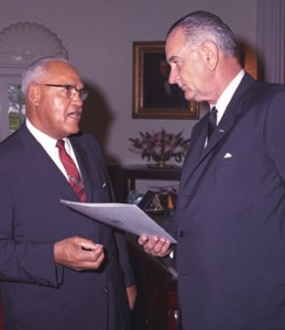 United Negro College Fund founder Frederick Patterson, DVM, with then U.S. President Lyndon Johnson.