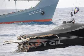 The Ady Gil after it was rammed.  (Sea Shepherd Conservation Society phto)