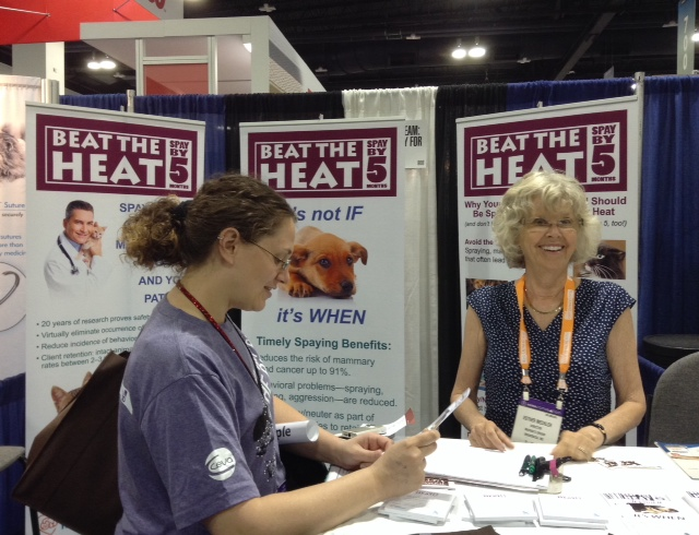 Marian's Dream booth at 2014 AVMA conference.  Esther Mechler is at right.