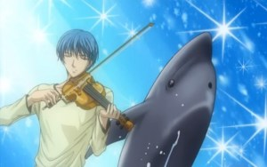 A hint that Japanese public attitudes toward marine mammals are changing appears in this animé cartoon,  in which the hero Tsukimori revives a sick dolphin by playing his violin.