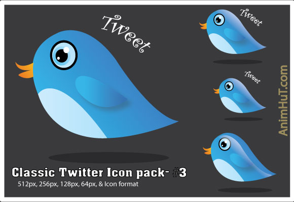 Blue Twitter icon pack #3
