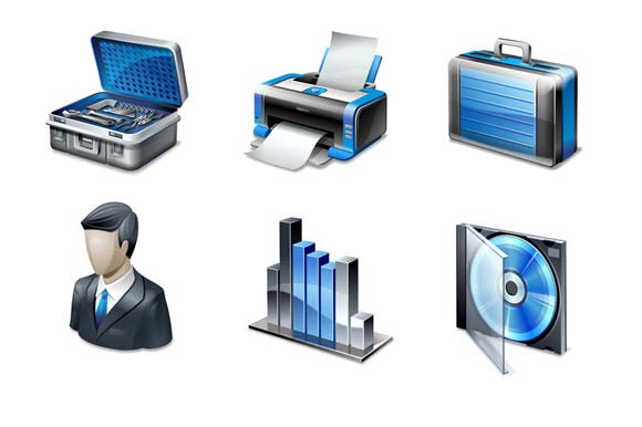 6 blue icons