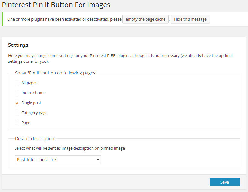 Pinterest WordPress Plugin Settings