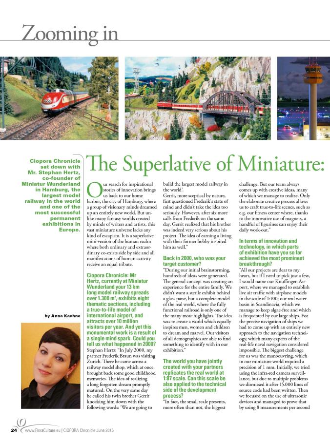 The Superlative of Miniature: Interview with Stephan Hertz, Miniatur Wunderland Hamburg