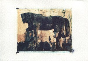 A broekn gravestone still recognizable as a horse, Kensall Green Cemetery, London, England. Polaroid transfer.