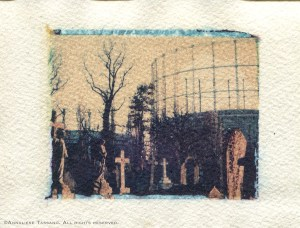 A polaroid transfer of the juxtaposition of victorian graves and the industrial tanks behind Kensall Green Cemetery, London, England.