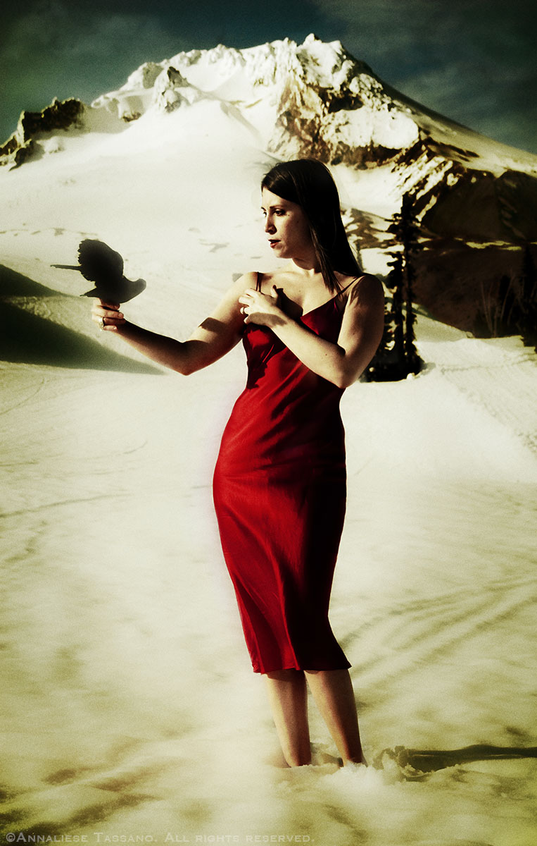A white woman with dark hair wearing a red silk dress and holding a crow stands in the snow on a mountain.