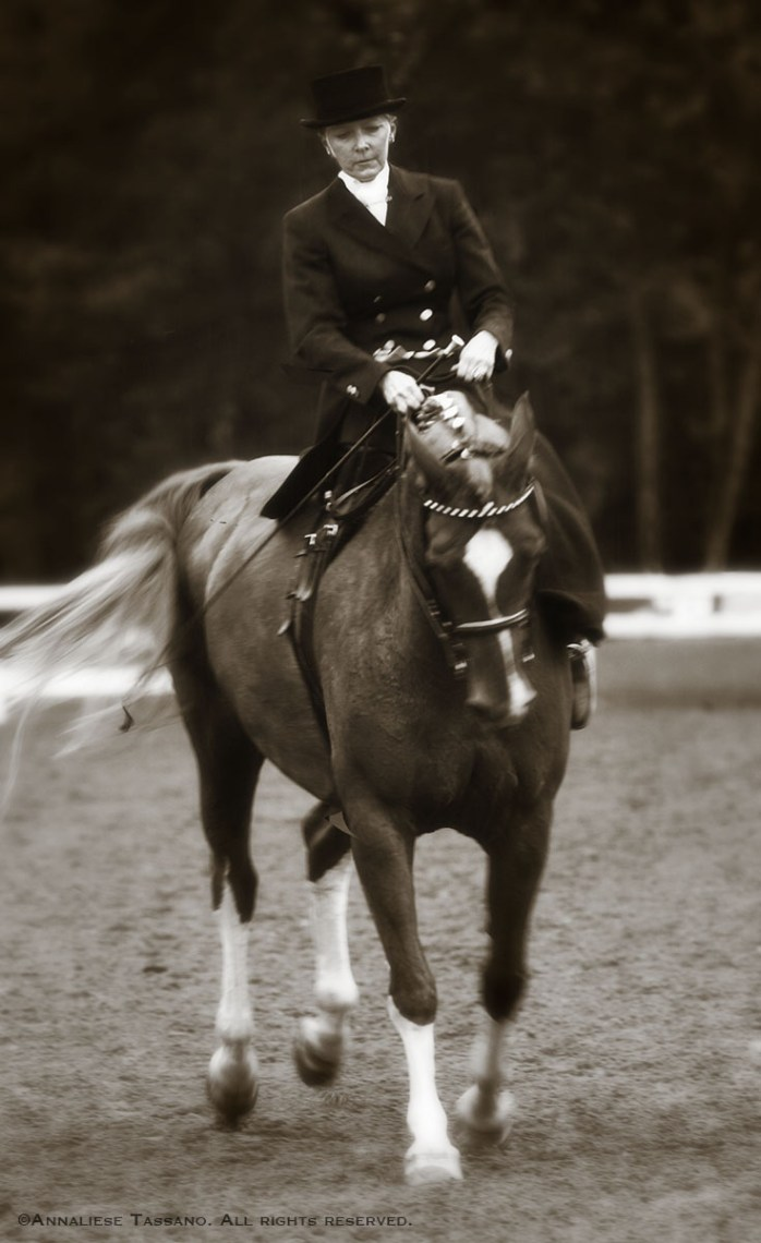 A sepia photo with a vintage feel of a woman riding side saddle.