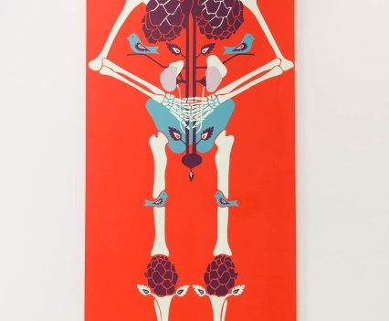 Knochen_in_der_Orthopädie_Ausstellung_Anna_Szermanski_Die_Familie_Orthopädie_Praxis_Dr._Bloch_Düsseldorf_Skelette_Farben_Polen_Folklore3