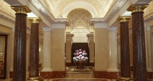 The grand lobby of the Four Seasons Hotel Lion Palace St.Petersburg, Russia