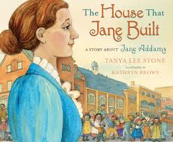 Cover of book with portrait of Jane Addams in front of Hull House