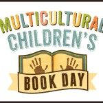 """Book with handprints on it and print reading """"Multicultural Childrens' Book Day."""""""