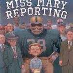 Cover of book showing many men, including athletes in full uniform, surrounding a tiny woman holding a pencil and a notepad