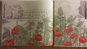 Back endpaper showing lush garden in front of White House.