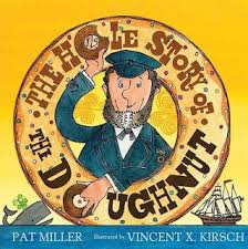 Cover of the book, showing a sea captain inside a giant doughnut.