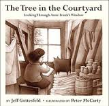 Cover of The Tree in the Courtyard shows Anne Frank writing in her diary next to a window through which we see a tree.