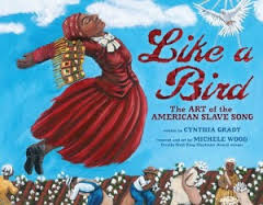 Cover of book shows an African American slave floating above cotton field