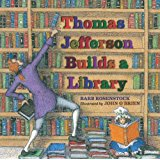 Thomas Jefferson reaches for a volume on a wall of bookshelves