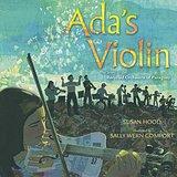 Girl plays violin made of trash