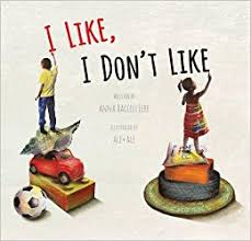 "Cover of ""I Like, I Don't Like"" shows two children writing the title."