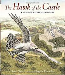 The cover of The Hawk in the Castle shows a whawk wheeling in the air above a castle.