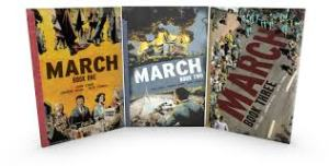 Shows the covers of the three graphic novels that won the Carter G. Woodson award, the March trilogy.