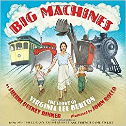 Cover of book shows woman and 2 boys in front of cable car, snow plow, steam shovel, and locomotive