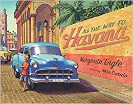 Cover of book shows a 1950s era car with a boy standing next to it in a tropical city