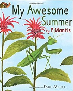 Cover of book shows praying mantis on a leaf.