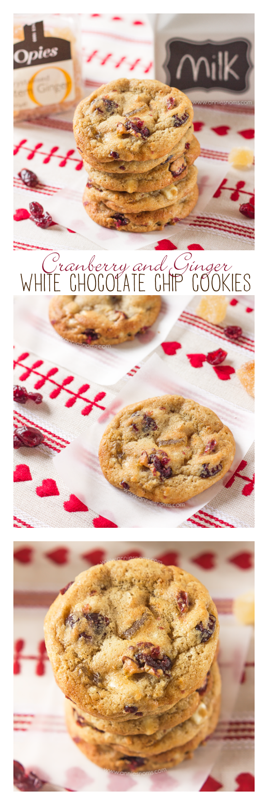 With my famous cookie dough, chunks of crystallized ginger, white chocolate and dried cranberries, these marry tart, sweet and spicy together perfectly for Christmas!