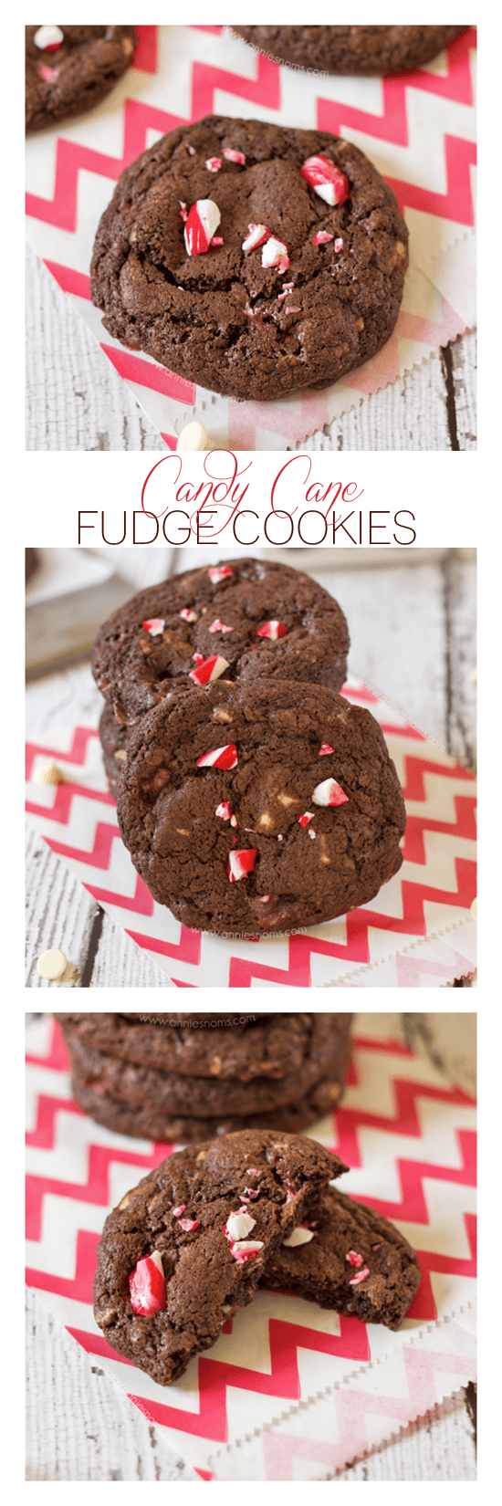 These Candy Cane Fudge Cookies have melted chocolate in the batter to make them super fudgy along with chunks of oozing white chocolate and the refreshing mint flavour of crushed candy canes.