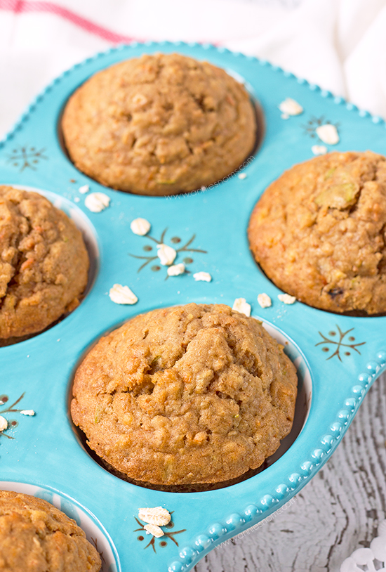 The combination of apple and carrot makes these muffins, sweet, yet slightly tart. Along with oats and a little spice in there too, they're hearty and filling, whilst not being packed with sugar.
