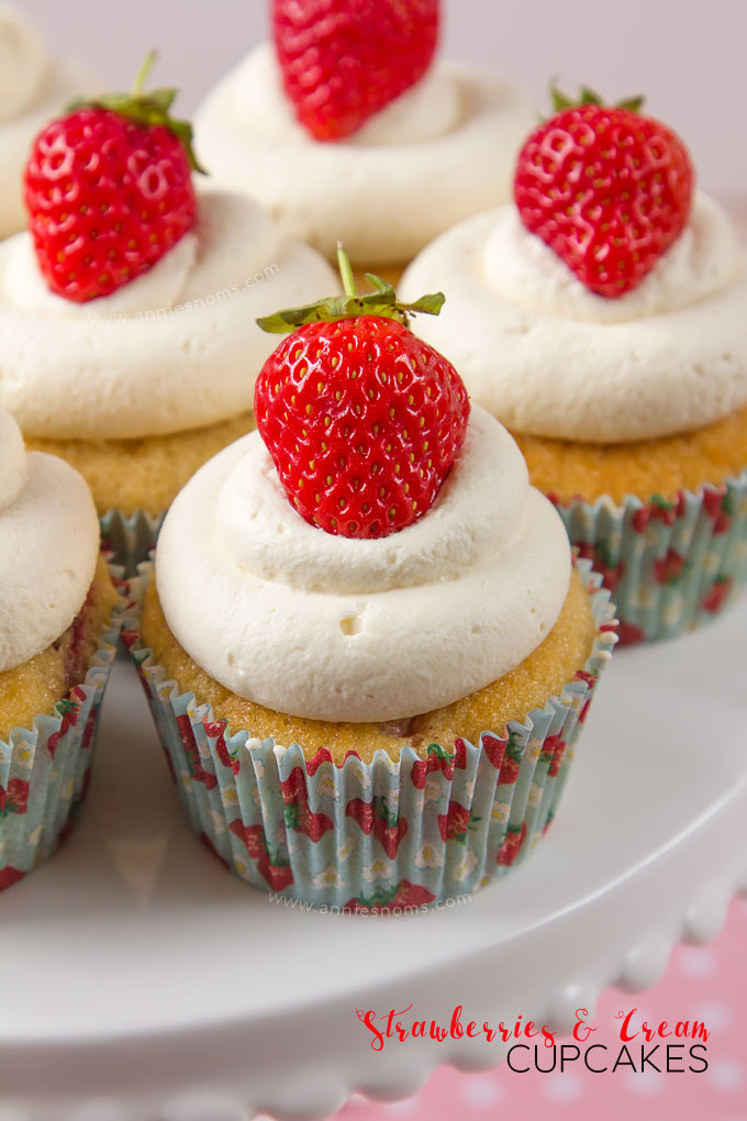 Strawberries and Cream Cupcakes | Annie's Noms