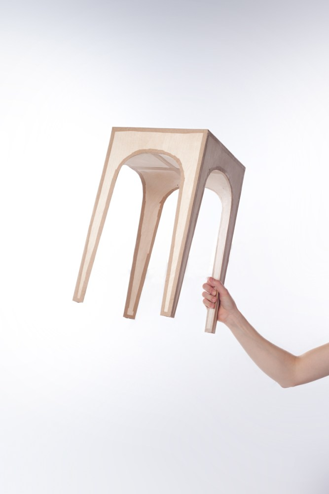 ADHOCKER # 1: A stool made by using tape and airplane plywood.