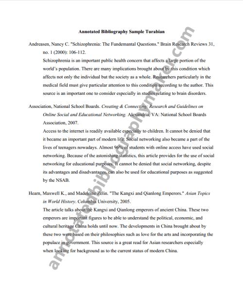 turabian citation annotated bibliography