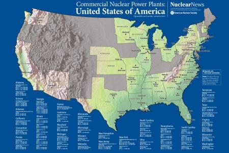 2017/2018 nuclear news wall map of united states