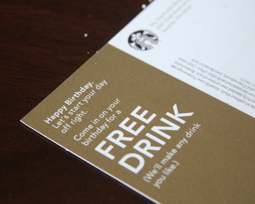 Free drink on my birthday from Starbucks