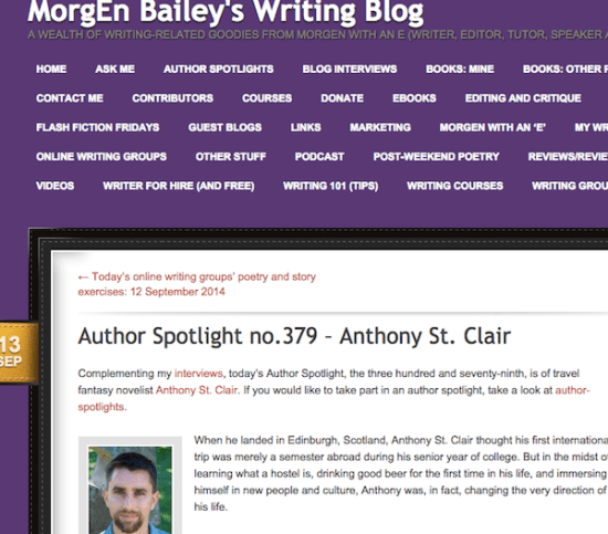 Morgen Bailey Author Interview with Anthony St. Clair