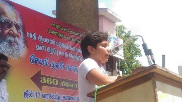 Kausalya, whose husband Sankar was hacked to death, addressing the public meeting at Tindivanam.