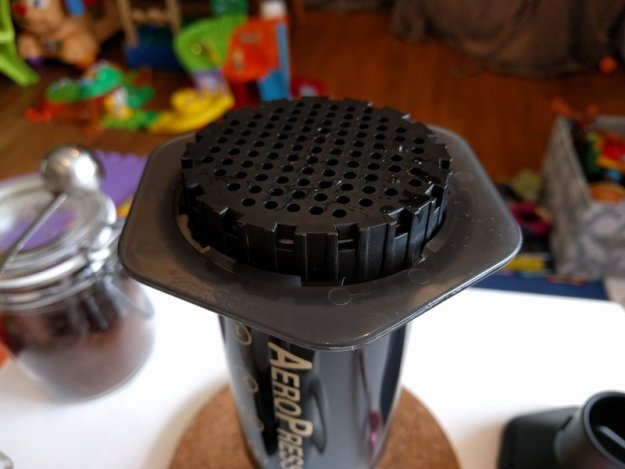 Aeropress inverted with filter attached