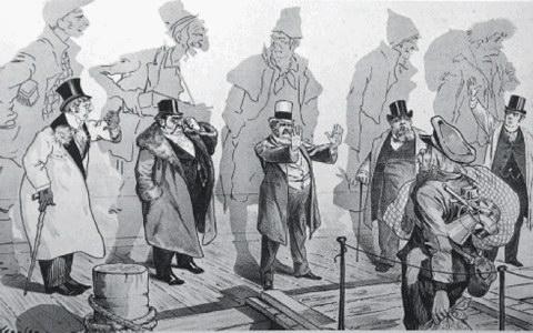 Οι πετυχημένοι (πίσω οι εικόνες τους όταν οι ίδιοι έφθαναν στις ΗΠΑ) διώχνουν τους φτωχούς νεόφερτους (αμερικανικό σκίτσο της εποχής από το λεύκωμα «Όπου γη Ελλάδα...»).